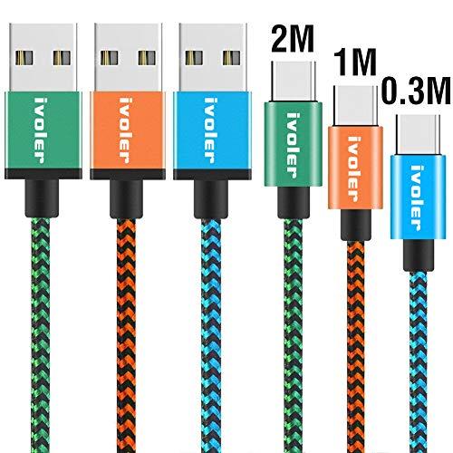 iVoler USB C Kabel auf USB 3.0 - [3 Stück: 0.3m+1m+2m] Datenkabel - Schnelles Aufladen und Synchronisation - Nylon Geflochtene USB Typ C Ladekabel Kompatibel für Typ C Geräte - Blau Orange Grüne Oem-lg Wand