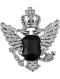 Broche Corona Collar Joya Patrón Águila Decoración Para Hombres Camisa Color Plata Negro
