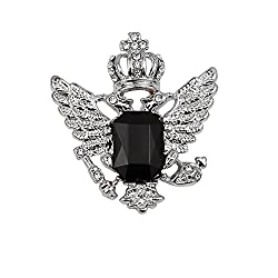 Imported Vintage Crown Eagle Pattern Collar Brooch Pin for Men Silver and Black-56001083MG