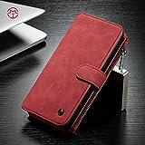Fundas y estuches para teléfonos móviles, Funda de billetera CaseMe Samsung Galaxy Note 8 con funda extraíble de TPU para PC, de lujo, hecha a mano, cuero TRIFOLD ( Color : Rojo )