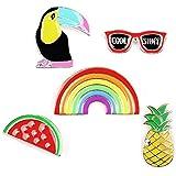 Spille in metallo, set da 5pezzi con ananas, occhiali da sole, tucano, anguria e arcobaleno