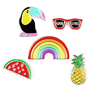 Beyond Brosche/Anstecknadel/Pins – 5 Stück Set – Ananas, Sonnenbrille, Tukan, Wassermelone, Regenbogen