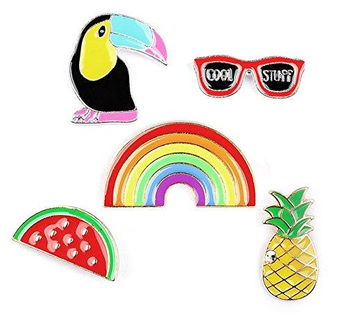 Brosche Anstecknadel Anstecker Pins Metall Brosche 5 Stück Set Ananas Sonnenbrille Tukan Wassermelone Regenbogen