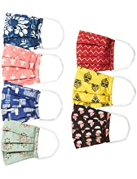 Ayukta Women's Cotton Reusable Face Mask (Pack of 7) (AYUMSK10_Multicolor_Free Size)
