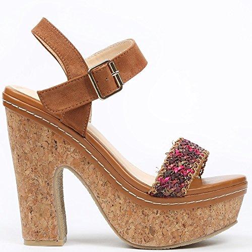 Ideal Shoes–Sandale mit Plattform aus Kork mit Riemen geflochten und Bride Effekt Wildleder Natassia Braun - Camel