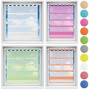Bistrogardine in transparent mit Raffoptik, einfarbige und lichtdurchlässige Voile-Scheibengardine mit Schlaufe, in…