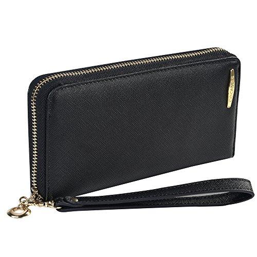 COCASES Damen Geldbörse, Elegant Kunstleder Portemonnaie Geldbeutel und Handytasche in einem Schwarz (Schwarz Geldbörsen)