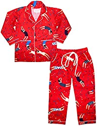 Shopmozo - Red Multicolor Printed Girls Night Suit ( Girls Night Wear Dress )