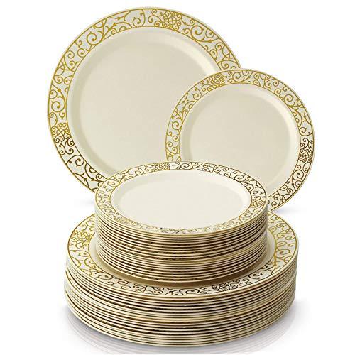 Silver Spoons 1016X6 Einweggeschirr-Set aus Kunststoff, Buffet-Teller, elfenbeinfarben/goldfarben