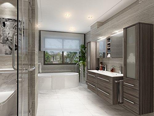 Badezimmer Möbel Set Mailand Eiche dunkel inkl. Doppel-Waschbecken und Doppel-Spiegelschrank als Sonderangebot Preishit