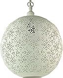Guru-Shop Weiße Metall Deckenleuchte in Marrokanischem Design, Orientalische Kugel Deckenlampe Weiß, Größe: 40x40 cm, Orientalisches Kunsthandwerk