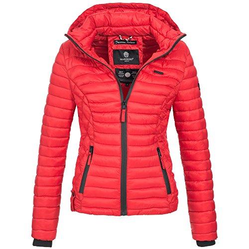 Marikoo SAMTPFOTE Damen Stepp Jacke Daunen Look Gesteppt Übergang XS-XXL 11-Farben, Größe:XXL;Farbe:Rot