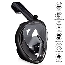Zenoplige Schnorchelmaske Tauchmaske mit 180° Breitsicht mit Schnorchel und Anti-Beschlag, Schwarz S/M