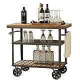 COOCAQI+Trolley Servierwagen, industrieller Vintage 3-stufiger Küchen-Servierwagen mit Rädern, Akzentmöbel in Holzoptik mit Metallrahmen