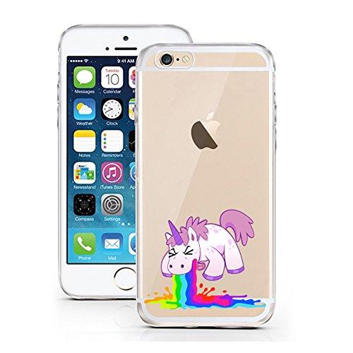 """IPhone 6 / 6S Einhorn Hülle Sketch Unicorn Case transparent klare Schutzhülle Einhörner Märchen Einhorn Kotzi Disney iPhone Hülle iphone6 Tasche Cover (iPhone 6 6S 4,7"""", Einhorn Kotzi)"""