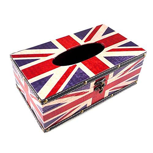 kirinstores Leder Tissue Box Halter American/britische Flagge Tissue Box Holder Cover Union Jack Design