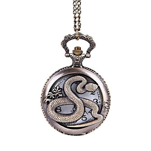 cinnamou Taschenuhr mit Drachen-Motiv, beste Geschenke für Opa Dad - Vintage-Schmuck Kette Retro Halskette, cooler Stil, antiker Stil, hohl, Bronze