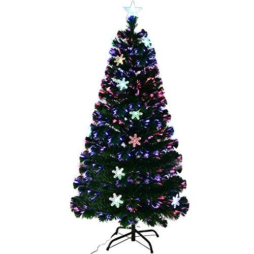 GOPLUS Albero di Natale Verde PVC con Stella di Natale e Luci Colorati a Fibre Ottiche Cambiamento Automatico, Supporto in Metallo, Altezza 120-210cm (210)