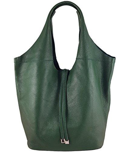 Freyday Echtleder Shopper mit Schmucktasche in vielen Farben Schultertasche Damen Henkeltasche (Grün) -