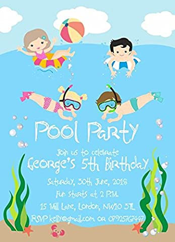 10 x Personalised Pool Birthday Party Invitations or Thank you Cards