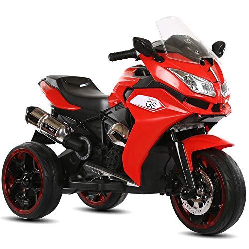 CHTOYS Kinder Fahren auf Motorrad Fahrrad, 12V Batterieleistung motorisierte elektrische 3 Räder Motorrad Spielzeug für Kinder Jungen und Mädchen, elektrische Fahrt auf Motorrad,Rot