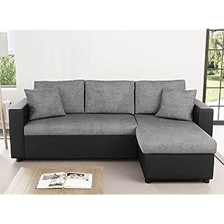 Usinestreet Canapé d'Angle Réversible et Convertible avec Coffre Gris / Noir MARIA
