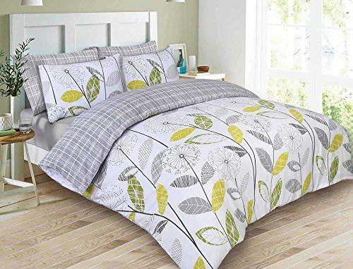 Dreamscene Luxuriöse Allium Bettwäsche Set mit Kissenbezüge, Polyester/Baumwolle, grau, Double -