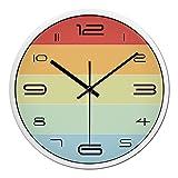 Beloved clock Orologio da parete nuova e moderna per qualsiasi Camera Arcobaleno precisa moda colorati Color Block Silent 9D40122C,12 pollici, Nera-bianca Box