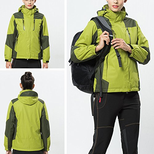 Zhhlaixing Two pieces Womens Sports Waterproof Jacket Outdoor Softshell Hooded Casual Outwear Olivine