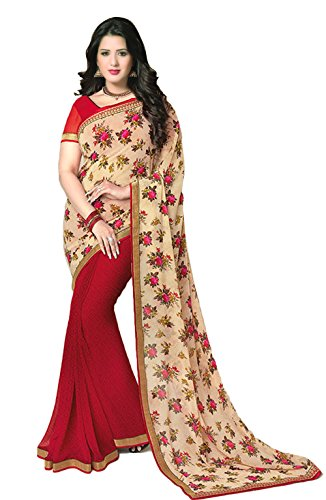 Janasya Women's Red Half Half Georgette Printed Saree (JNE0973-SRE-RED)  available at amazon for Rs.499