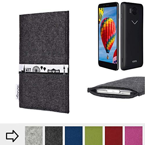 flat.design für Vestel V3 5580 Schutztasche Handy Hülle Skyline mit Webband Wien - Maßanfertigung der Schutzhülle Handy Tasche aus 100% Wollfilz (anthrazit) für Vestel V3 5580