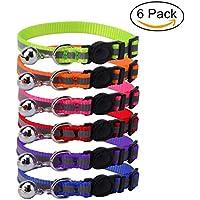 HOMIMP Juego de 6 collares reflectantes para gatos de seguridad con campana, ajustables de 20 a 25 cm