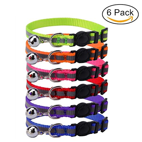 "HOMIMP 6 Pcs Reflective Cat Collars Breakaway Safety Cats Collar set with Bell, Adjustable 8""-10"""