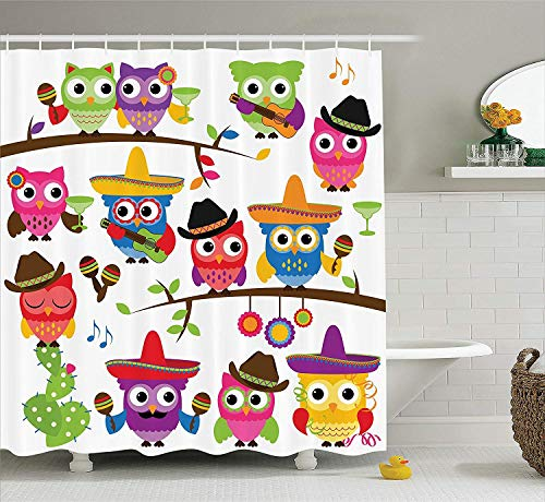 Owls Home Decor Collection, Collection of Cowboy Owls with Hats Guitars Cactus Cinco de Mayo Design, Polyester Fabric Bathroom Shower Curtain, 60 x 72 Inches, Blue Green Orange Red (Cinco De Mayo Hat)