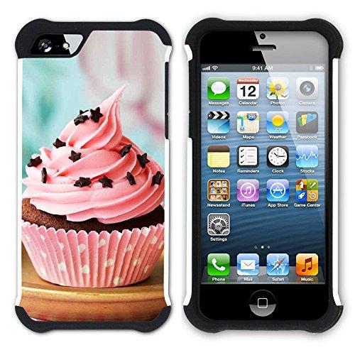 Graphic4You Cupcake Dessert Nachtisch Kuchen Hart + Weiche Kratzfeste Hülle Case Schale Tasche Schutzhülle für Apple iPhone SE / 5 / 5S Design #3