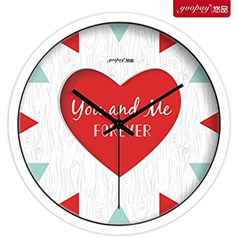 XB.T Regalos de Navidad Halloween Ideas de Regalos personalizados relojes de cuarzo Mute Salón decoración romántica boda Reloj de pared Dormitorio ,10 en caja
