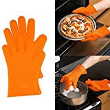 Heat Resistant Silicone Kitchen and BBQ Gloves -Perfect Grill Gloves, Great for Cooking, Boiling-Water Proof,Dishwasher Safe, and Outperforms Oven Mitts & Any Other Related Product (orange)