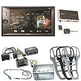 Sony XNV-KIT651 Bluetooth USB CD DVD MP3 Autoradio 2-Din Navigation Touchscreen Freisprecheinrichtung Einbauset für Opel Astra J, Farbe der Radioblende:Platin-Silber
