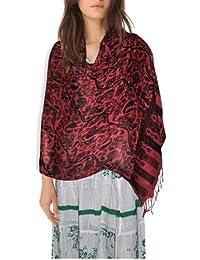 DakshCraft Red & Black Floral Design Cotton Women's Stole