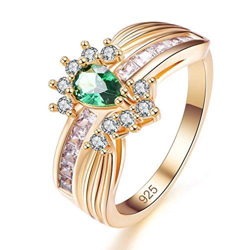 Yazilind grün Teardrop Zirkonia Ringe vergoldet Intarsien Strass Engagement für Damen Größe 17.2 (Grüner Ring Granat)