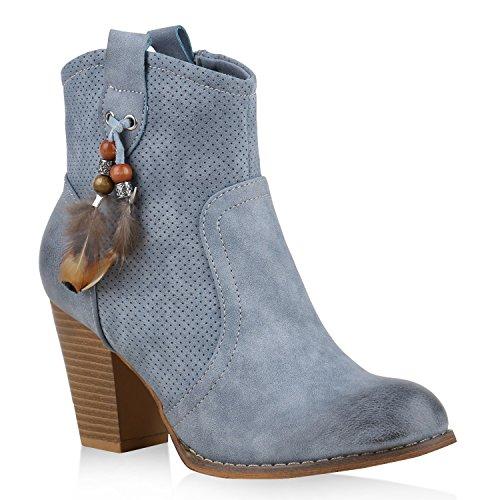 Damen Stiefeletten Cowboy Boots Stiefel Zierperlen Ethno Schuhe Hellblau