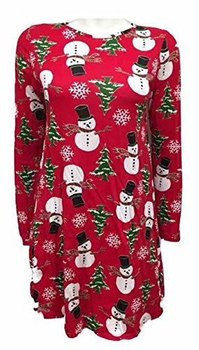 Generic - Robe - Patineuse - Manches Longues - Femme Red Snowman