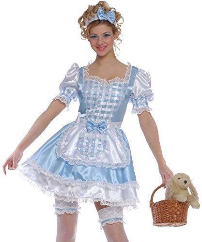 Damen Sexy, Blau, 4-teilig, Dorothy aus Der Zauberer von Oz, Cinderella Book Tag Halloween Kostüm (Der Oz Dorothy Aus Von Zauberer Kostüme)