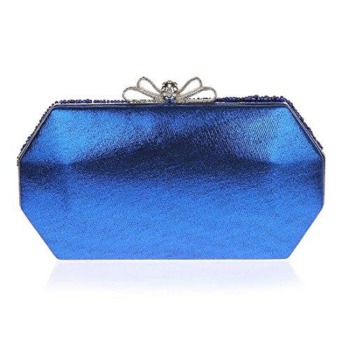 KAXIDY Clutches Satin Strass Damen Clutch Abendtasche Umhaengetasche Blau