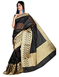 "Asavari ""SIGNATURE"" : Obsidian Black Supernet Cotton Banarasi Saree With Rich Zari Border"