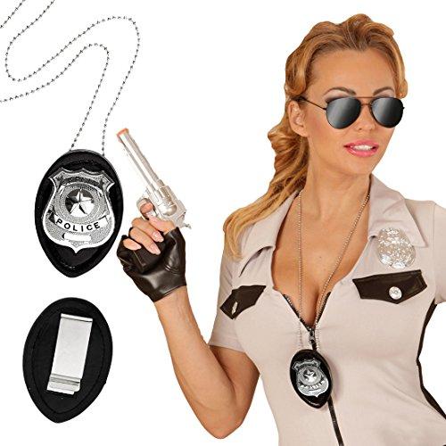 Abzeichen Polizei Kostüm Halskette - Halskette Polizei Abzeichen Polizeimarke Dienstmarke mit Kette Polizisten Marke Rangabzeichen Polizeikette Polizeiabzeichen Cop Kostüm Accessoire
