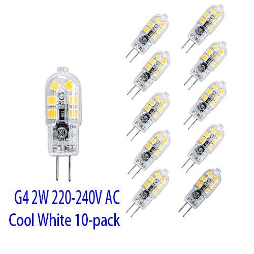 OUGEER 10 Stück Energiesparende G4 2W LED Birne, 12 SMD 2835, Kaltweiss 6000K, 200lm, AC 220-240 V LED-Lampen Ersatz 20W Halogenlampe -