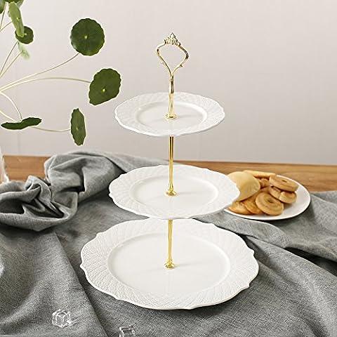 Cerámica Cerámica Three-Layer Continental Torta doble montaje en rack múltiples capas de bocadillos Fruta ,4,33*26cm el té de la tarde