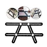 Winkelmesslineal aus Aluminiumlegierung, Multifunktions-Lineal für Fliesen, Bauarbeiter, Tischler, Heimwerker