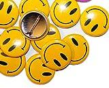 Anstecker mit Smiley-Gesichtern, Buttons, verschiedene Farben und Mengen, 32mm Durchmesser.